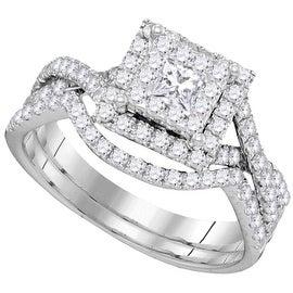 14K White Gold Bridal Ring Set Engagement Ring and Band 0.86cttw 9mm Wide (i2/i3, i/j)