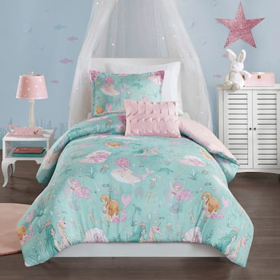 Mi Zone Kids Leilani Aqua/ Pink Printed Mermaid Comforter Set