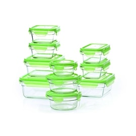 Tempered Microwave and oven safe airtight Green Lids Glasslock Storage Containers 20 Piece Set