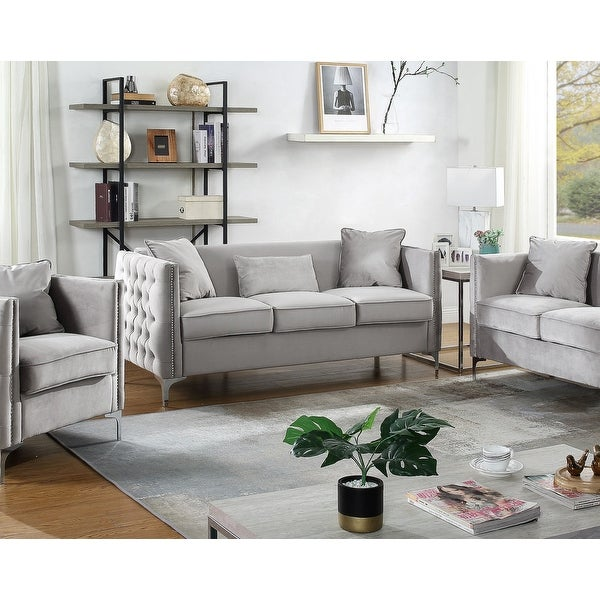 Bayberry Contemporary Velvet Fabric Sofa Couch with 3 Pillows. Opens flyout.