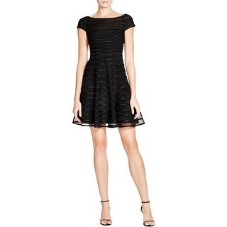 Betsy & Adam Womens Cocktail Dress Piping Cap Sleeve
