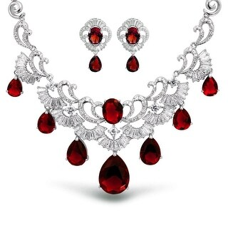 Bling Jewelry CZ Pear Red Wedding Set Rhodium Plated