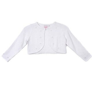 Cinderella Couture Little Girls White Pearl Beaded Soft Hook Closure Sweater 2-6 (2 options available)