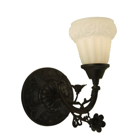 "7""W White Puffy Rose Wall Sconce"