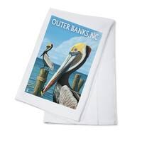 Outer Banks, NC - Pelicans - LP Artwork (100% Cotton Towel Absorbent)
