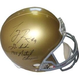 Tony Rice signed Notre Dame Fighting Irish Full Size Replica Helmet dual Go Irish & 1988 National Champions