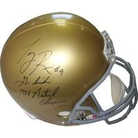 Tony Rice signed Notre Dame Fighting Irish Full Size Replica Helmet dual Go Irish  1988 National Ch