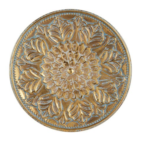 "Round Antique Gold Metal Wall Decor With Textured Pattern 31"" X 31"""