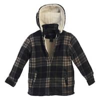 Gioberti Boys Black Tan Plaid Sherpa Lined Hooded Flannel Jacket