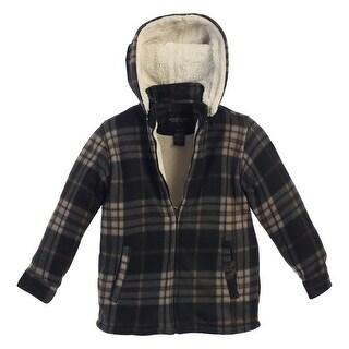 Gioberti Boys Black Tan Plaid Sherpa Lined Hooded Flannel Jacket