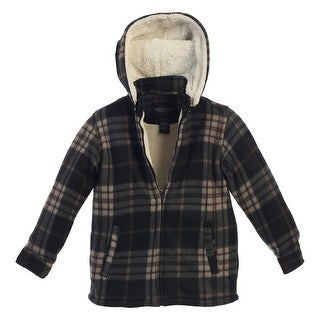 Gioberti Little Boys Black Tan Plaid Sherpa Lined Hooded Flannel Jacket (2 options available)