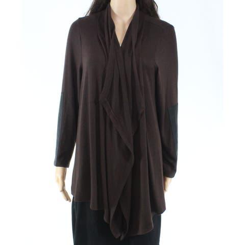 Karen Kane Womens Brown Size 2X Plus Cardigan Open-Front Sweater