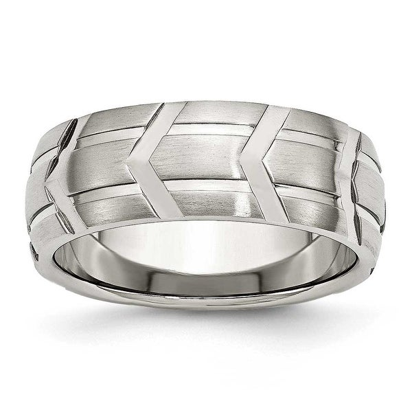 Chisel Stainless Steel Satin & Polished 8mm Band