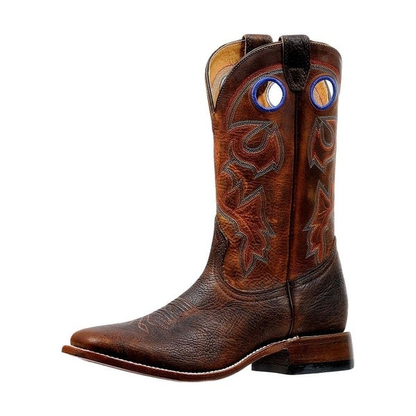 Boulet Western Boots Mens Stockman Pull Holes Stitching Old Town