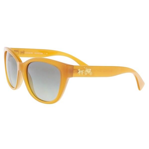 36e25f958a Shop Coach HC8163 546311 Amber Cat Eye Sunglasses - 55-17-135 - Free ...