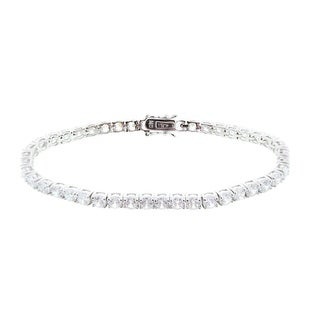CZ by Kenneth Jay Lane Womens Radiant Rounds Cubic Zirconia Tennis Bracelet - Silver