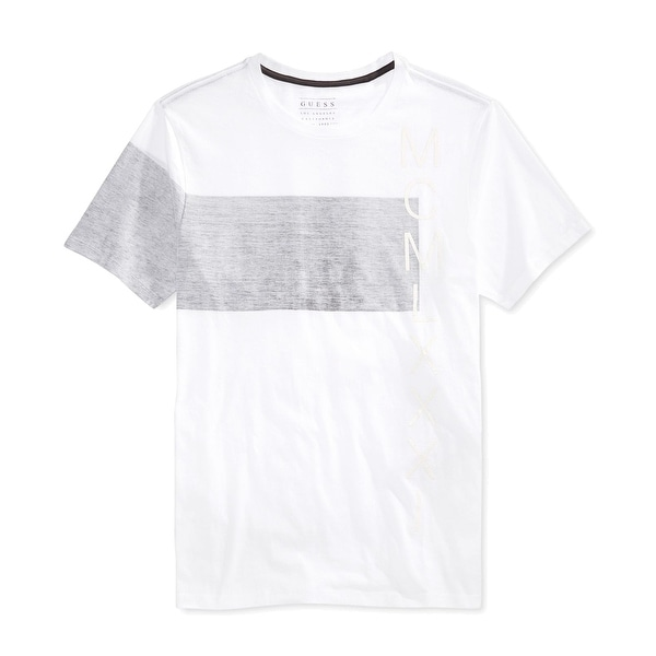 144c69d41bd0 Shop Guess NEW White Gray Colorblock Mens Size XL Graphic Tee Crewneck T- Shirt - Free Shipping On Orders Over $45 - Overstock - 18370318