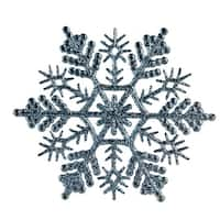 """Club Pack of 24 Baby Blue Glitter Snowflake Christmas Ornaments 4"""""""