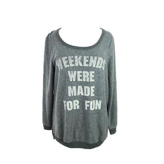 Dreamr Heather Grey Long-Sleeve 'Weekends Fun' Sweater M