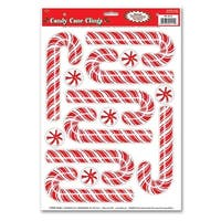 Club Pack of 168 Candy Cane and Peppermint Candy Window Clings Christmas Decorations 17""