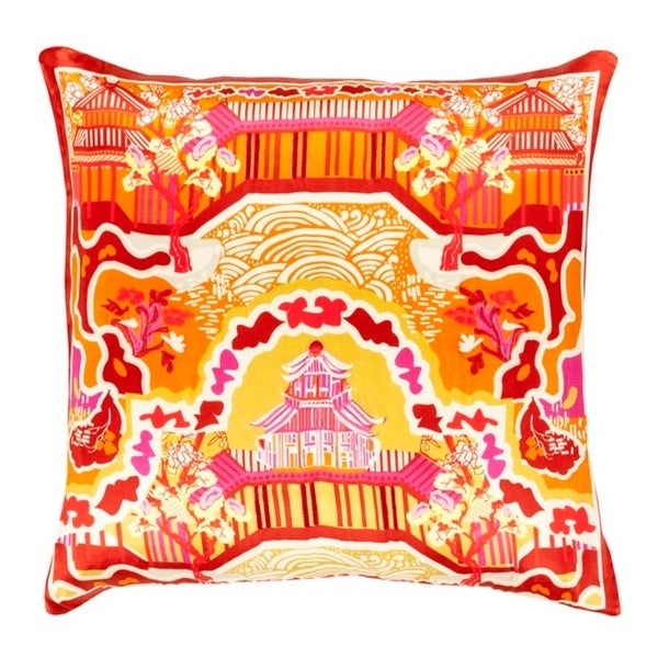 "18"" Dream Fortress Carrot Orange and Pepper Red Decorative Square Throw Pillow - Down Filler"