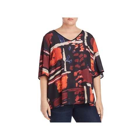 Joseph A. Womens Plus Blouse Printed ouble - Times Square Print - 2X