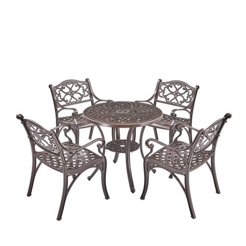 Upland Elizabeth Cast Aluminum Garden Furniture Chairs 5 Pcs Set -Bronze