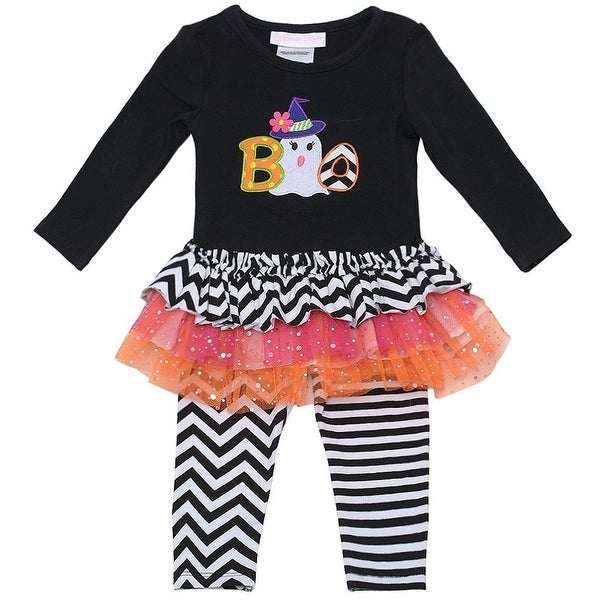 Baby Girls Black Boo Striped Tutu Tunic 2 Pc Leggings Set 0-3M