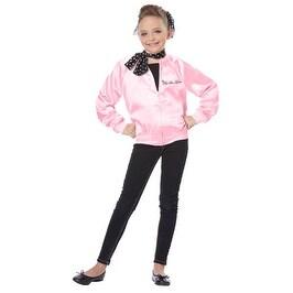 Girls The Pink Satin Ladies Kids Grease Halloween Costume