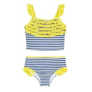 Penelope Mack Baby Girls Yellow Trim Stripe 2 Pc Tankini Swimsuit