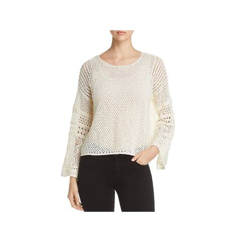 1.State Womens Crop Sweater Open Knit Bracelet Sleeves - XS
