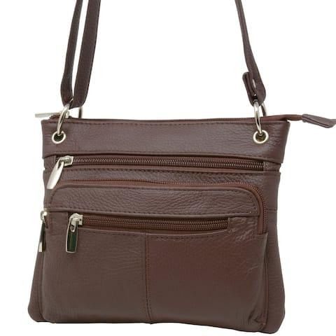 Women's Genuine Leather Cross Body Shoulder Bag Purse - One Size