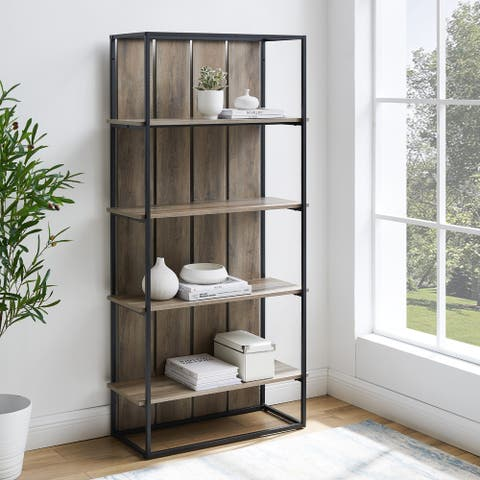 The Gray Barn Kujawa Slat Back Bookshelf - Black / Grey Wash