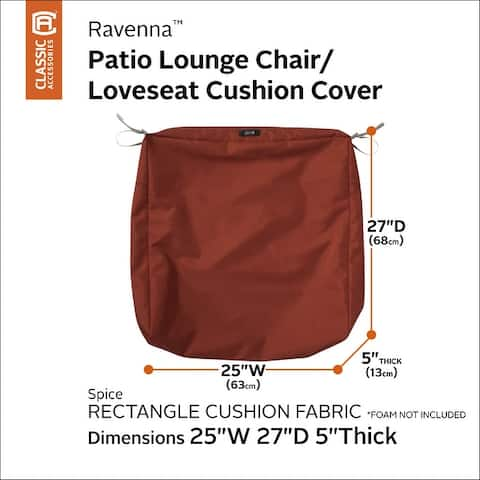 Classic Accessories Ravenna Water-Resistant Patio Lounge Chair/Loveseat Cushion Cover, 25 x 27 x 5 Inch