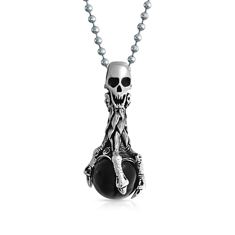 Men Trendy Punk Silver Black Stainless Steel Skull Pendant Chain Necklace Gift