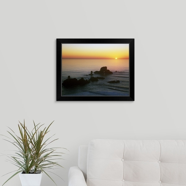 """Sunset Over Sea Lion Rock"" Black Framed Print"