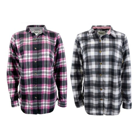 Victory Outfitters Ladies' 2 PACK Microfiber Fleece Patterned Button Up Shirt