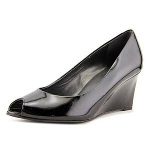 Stuart Weitzman Nova Women  Open Toe Patent Leather Black Wedge Heel
