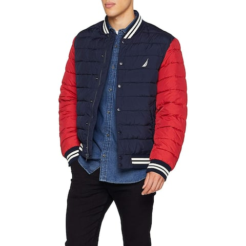 Nautica Mens Red2134 Blue Size Small S Colorblock Flight Bomber Jacket