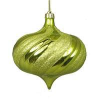 4 ct. Shiny Green Kiwi Glitter Swirl Shatterproof Onion Christmas