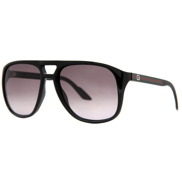 fdf97b5742016 Shop Gucci GG 1018 S BIL EU Shiny Black Gray Gradient Men s Aviator ...