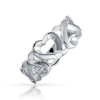 Bling Jewelry Sterling Silver Triple Loving Heart Ring