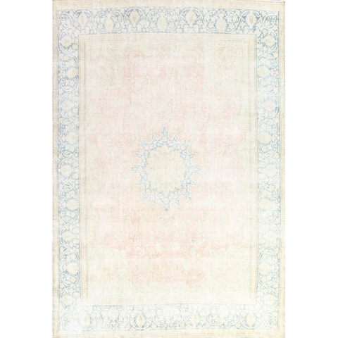 """Muted Distressed Floral Kerman Persian Wool Area Rug Hand-knotted - 9'10"""" x 12'10"""""""