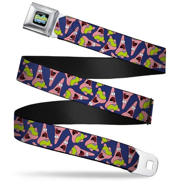 SpongeBob SquarePants Logo Full Color Black Patrick Starfish Pose Scattered Seatbelt Belt