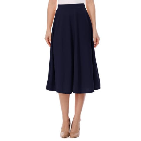 Women's A-Line Casual Flared High Waist Solid Midi Skirt