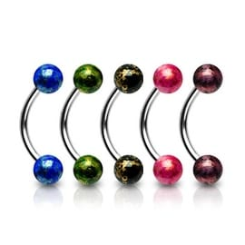 "Surgical Steel Curve Eyebrow with 4mm Fossil Acrylic Balls - 16GA 3/8"" Long (4mm Ball) (Sold Ind.)"