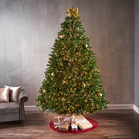 9-foot Norway Spruce Pre-Lit String Light or Unlit Hinged Artificial Christmas Tree by Christopher Knight Home