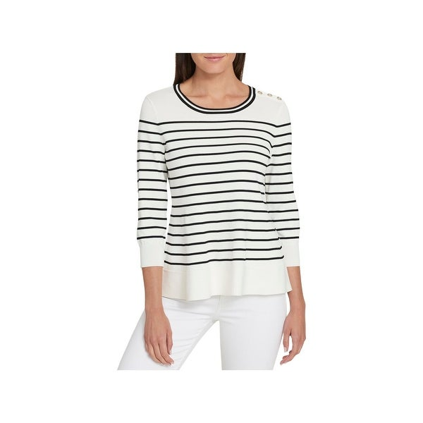 4d93b184 Shop Tommy Hilfiger Womens Pullover Sweater Striped Peplum - Free Shipping  On Orders Over $45 - Overstock - 22832863