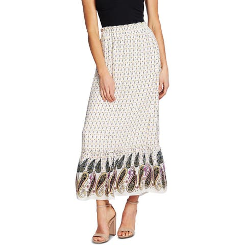 CeCe Womens Juniors Maxi Skirt Paisley Pull On - Soft Ecru