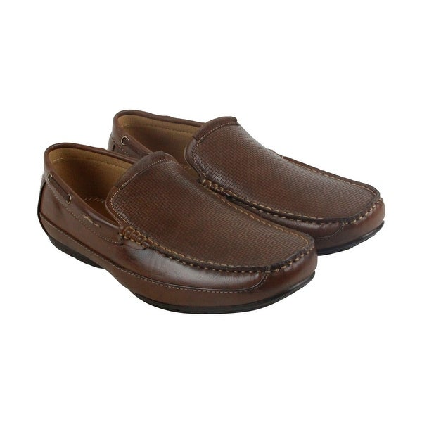 Steve Madden M-Ipson Mens Brown Leather Casual Dress Slip On Loafers Shoes